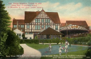 Key Route Inn, Rear View showing Gardens and Children's Playgrounds, Oakland, California